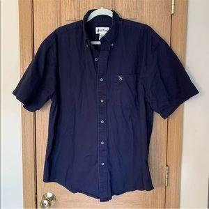 Eddie Bauer Short Sleeve Oxford Button Up Logo Tee